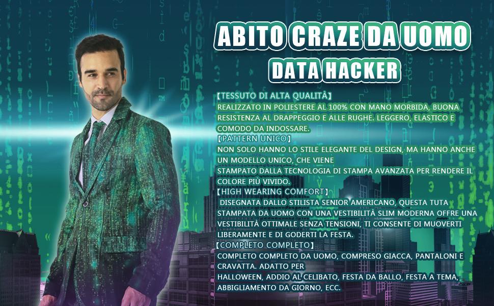 EraSpooky Data Hacker Abiti per Uomo Viene con Giacca Pantaloni e Cravatta