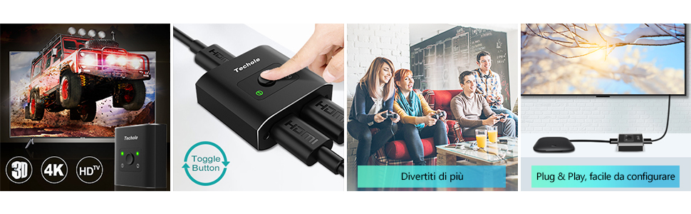 Techole Alluminio Switch HDMI Bidirezionale 2 Ingressi 1 Uscita o 1 Ingresso 2 Uscite