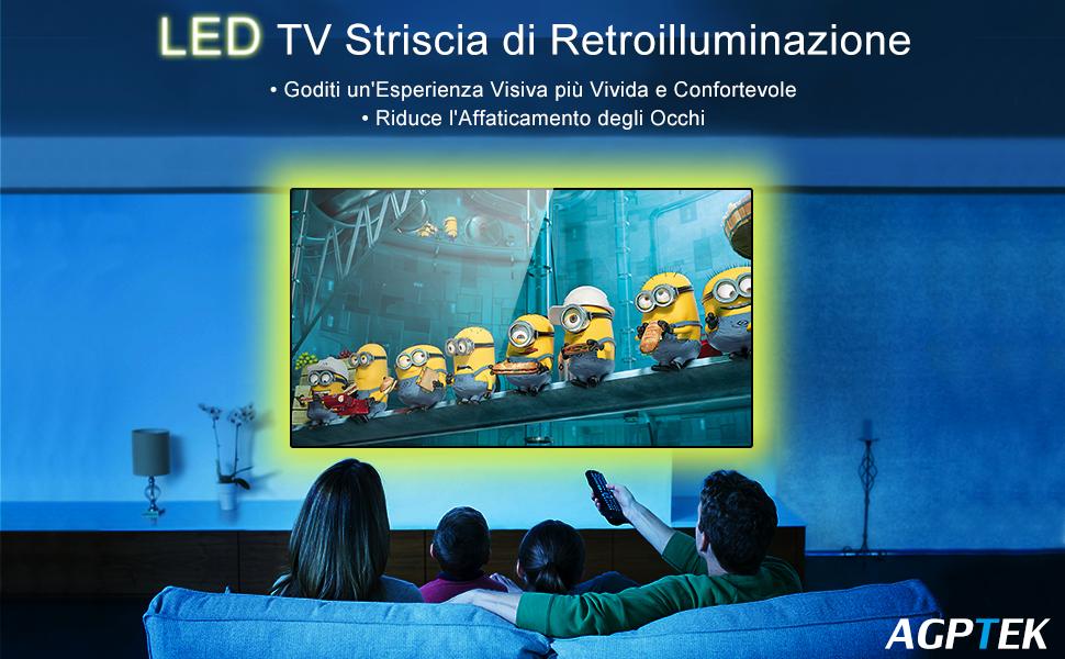 Illuminazione tv usb auraglow colour changing cm v led strip usb