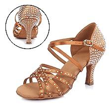 190ca71fc0 Questo tipo di scarpe da ballo latino femminile è realizzato in morbido  raso, con strass brillanti, Open Toes, morbido, confortevole e resistente