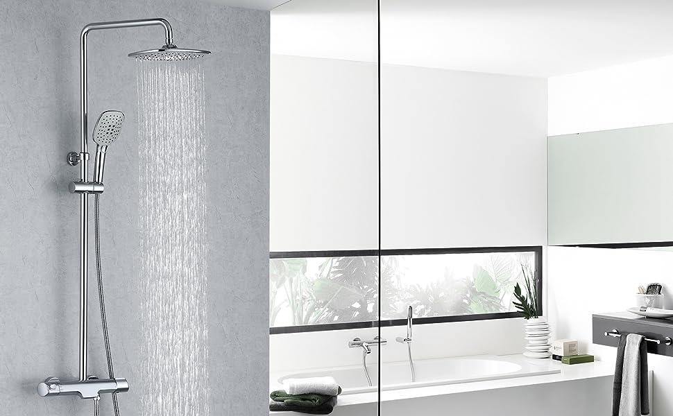 Shower column with mixer