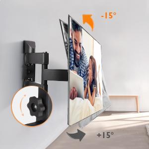 SIMBR Staffa per TV a Parete Supporto TV per TV 22-55 pollici LCD,LED Plasma Monitor a schermo piatto curvo,Max carico 35KG Rotazione 180/°e inclinazione /± 15 /°Include Livella Magnetica a Bolla
