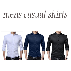 Slim Fit a Maniche Lunghe Colletto Alto Camicia da Uomo Business Nozze Formale Shirt Smoking Cotone Bianco Dunkel Blau Nero