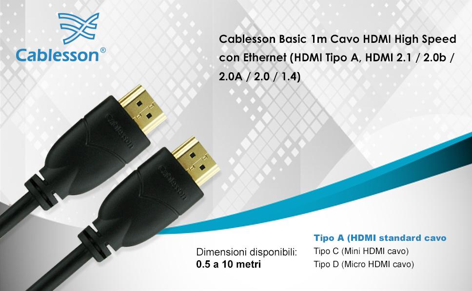 7,6 m Basics Cavo HDMI intrecciato