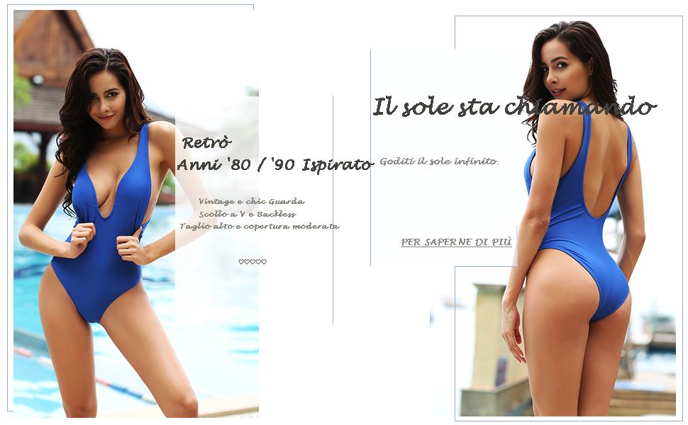 Costume Da Bagno Intero Vintage : Shekini donne un pezzo bikini donna high cut costume intero mare e