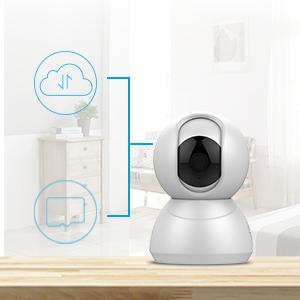 Keyke Camera IP Wifi 1080p Telecamera di Sorveglianza con Rotazione a 360°, Visione Notturna, Audio-Bidirezionale, Notifiche di Movimento, Servizio Cloud - App iOS/Android