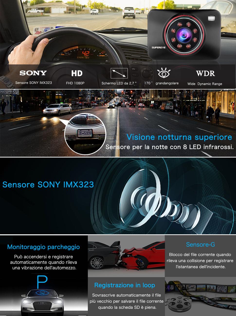 supereye dash cam telecamera per auto dash cam per auto. Black Bedroom Furniture Sets. Home Design Ideas