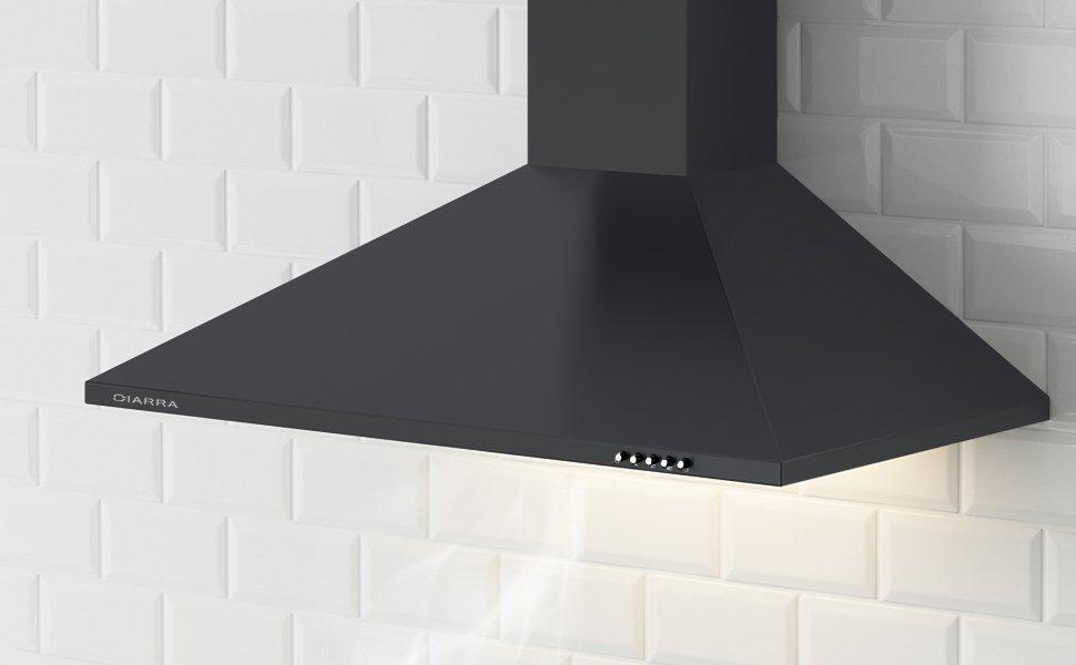 Ciarra, cappa da cucina 60cm in acciaio inossidabile (nero): Amazon ...