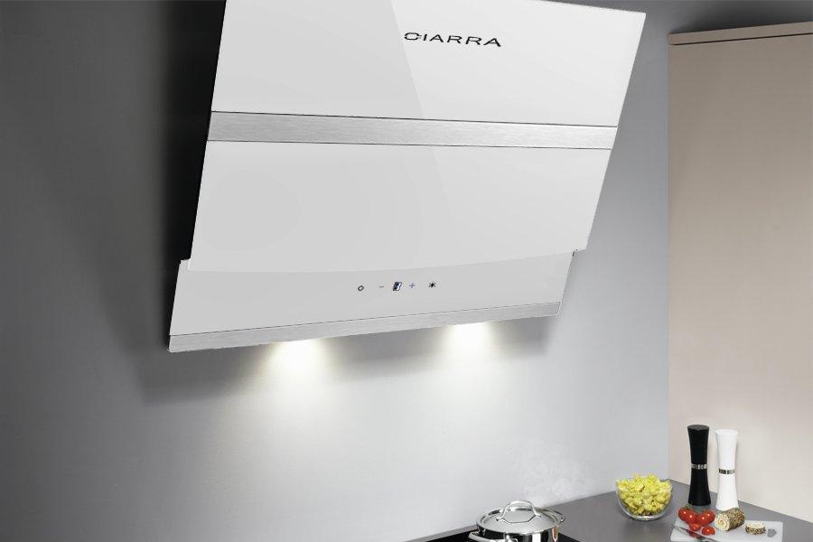 Ciarra 60cm Ventilatore da cucina per cappa aspirante in vetro bianco  angolato 6049affdfac0