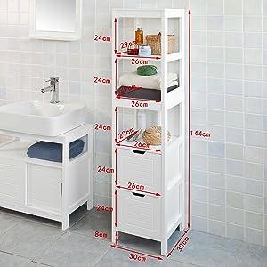 SoBuy® Mobiletto da Bagno di Alta, Mobile a Colonna da Bagno,  Bianco,FRG126-W,IT