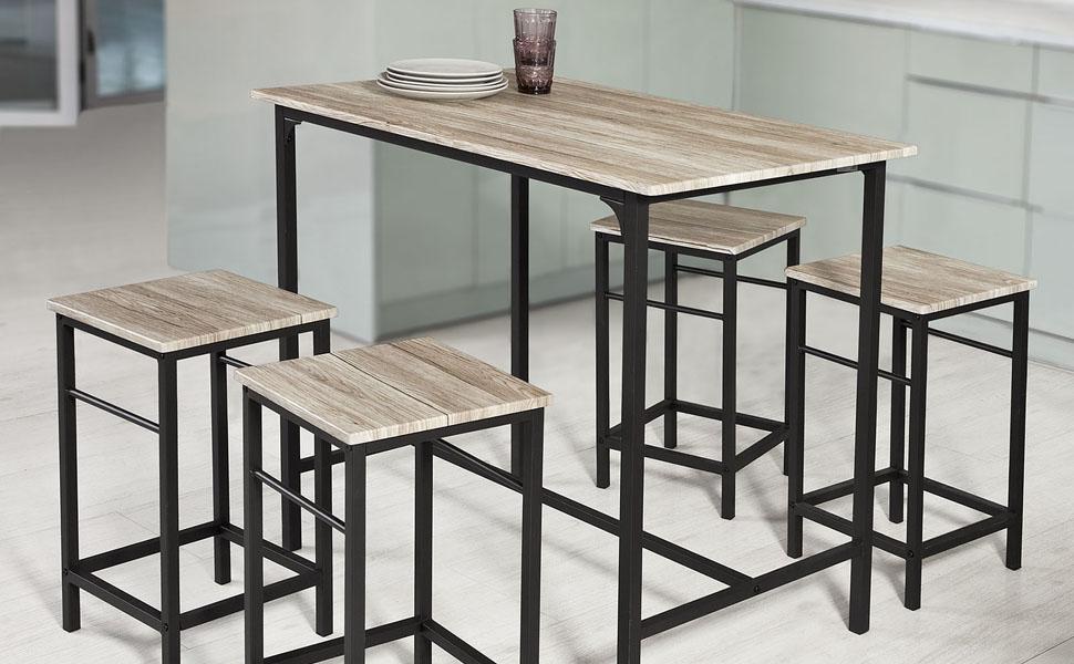 Sobuy® set 5 pezzi tavolo con 4 sgabelli set di mobili da balcone