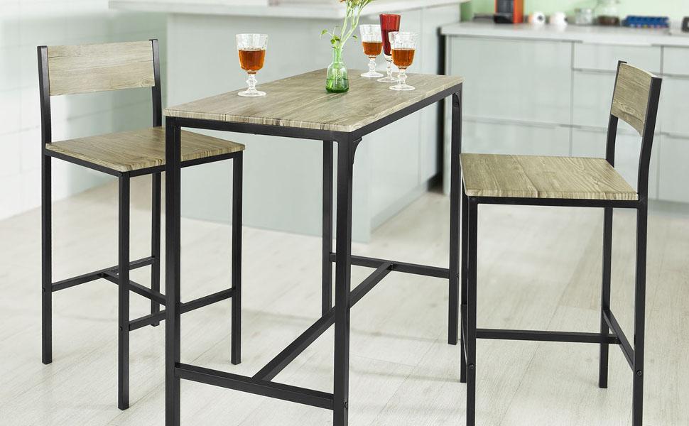 Sobuy® set tavolino bar con 2 sgabelli arredo da giardino tavolo da