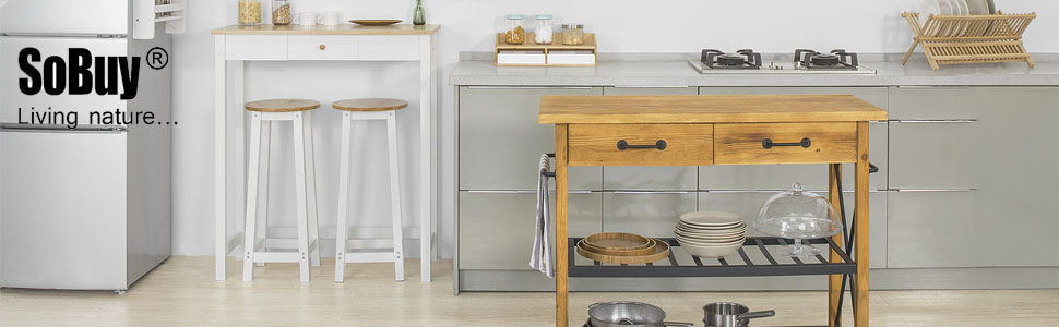 SoBuy Carrello di servizio Mensola angolare Scaffale da cucina bianco FKW33-W piano legno+ acciaio IT