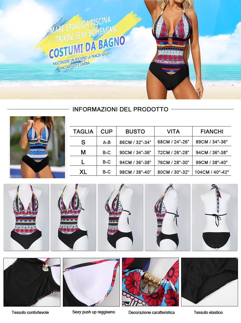 Costumi da bagno interi donna trikini costume da mare - Costumi da bagno contenitivi pancia ...