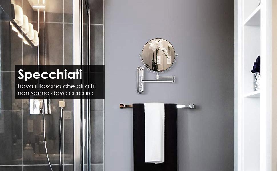Spaire specchio ingranditore bagno 7x ingrandimento doppio lato