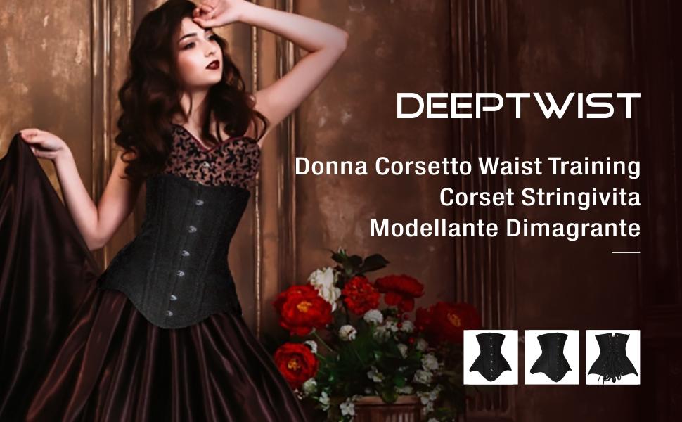DeepTwist Donna Corsetto Waist Training Corset Stringivita Modellante Dimagrante