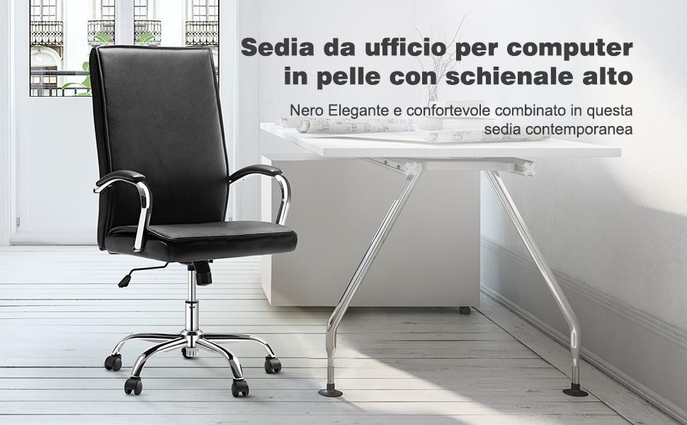 Langria sedia ergonomica per ufficio con schienale alto in
