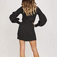 2db2178052 Aleumdr Vestito Mini Collo Alto Abito Donna in Maglia S-XL