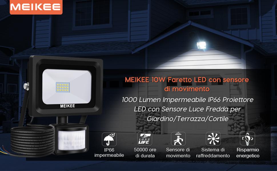 Meikee faretto led con sensore di movimento w ip proiettore