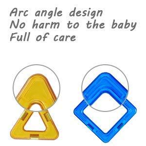 INTEY Costruzioni Magnetiche Bambini Set 66 Pezzi Blocchi Costurzioni Magnetici DIY Magnetici Giocattoli Giocattoli Standard Set con la Rotella