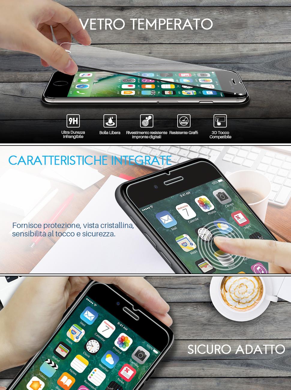 LK Protezione Schermo Vetro Temperato Screen Protector Installazione Semplice Cornice allineamento 3 Pack Pellicola Protettiva per iPhone 7 // iPhone 8, Garanzia di Sostituzione a Vita