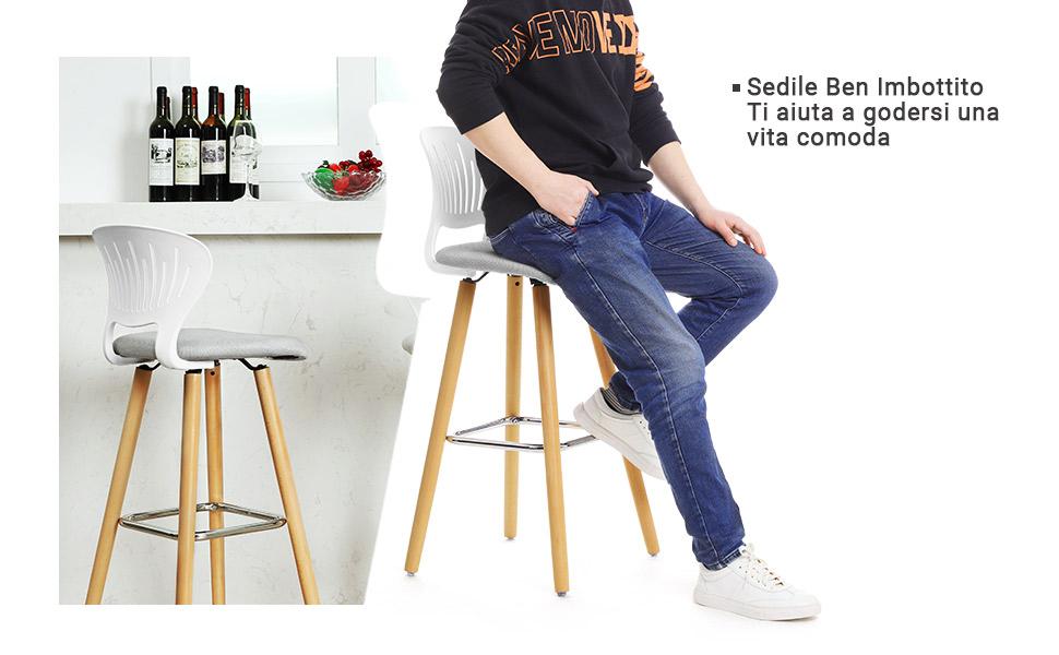 Songmics sgabelli da bar sedia cucina gambe in legno di