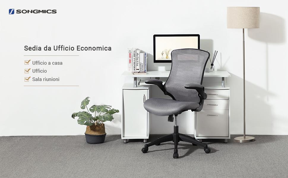 Sedie Da Ufficio Economiche : Songmics poltrona girevole sedia da ufficio regolabile a rete