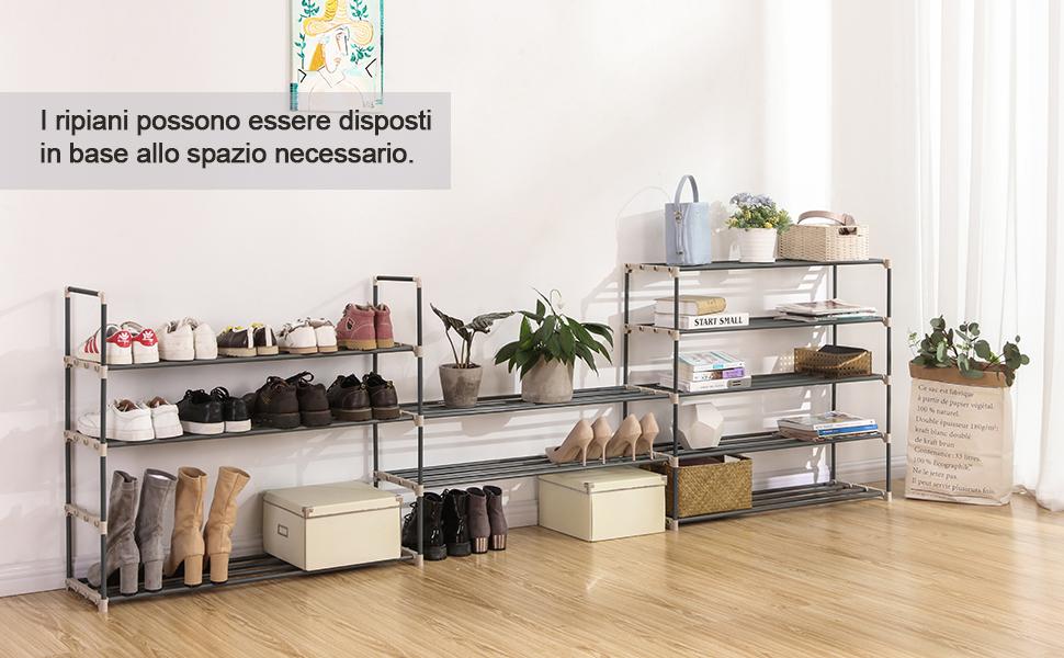 Songmics Diy Scarpiera Porta Scarpe A 10 Ripiani Organizzatore In
