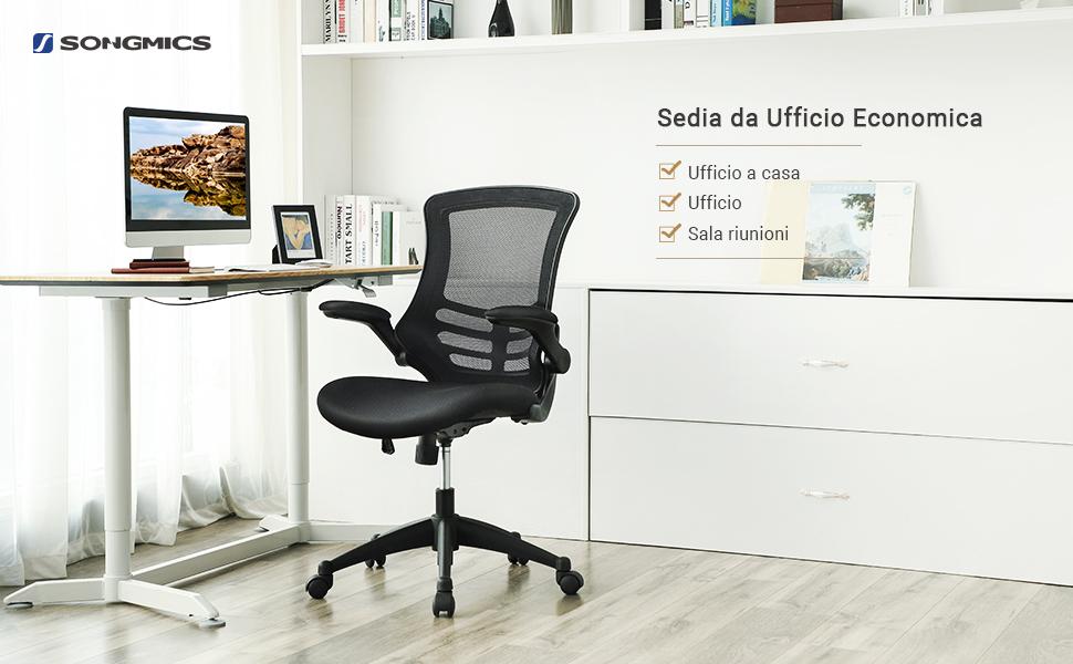 Sedie Da Ufficio Economiche : Songmics poltrona girevole sedia ergonomica da ufficio studio