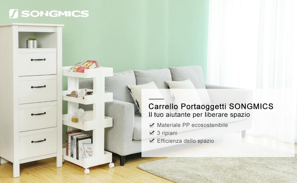 SONGMICS Carrello in Plastica a 4 Piani Scaffale Mobile in PP con Rotelle per Cucina e Bagno Carrello Multiuso KSC05WT