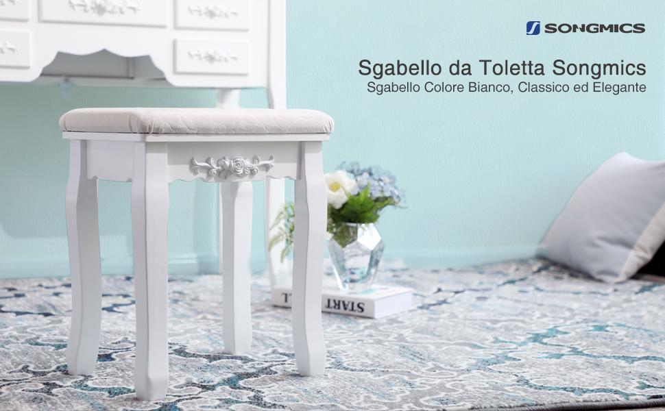 Songmics baroque sgabello tavolo trucco per toeletta bianco rds45w