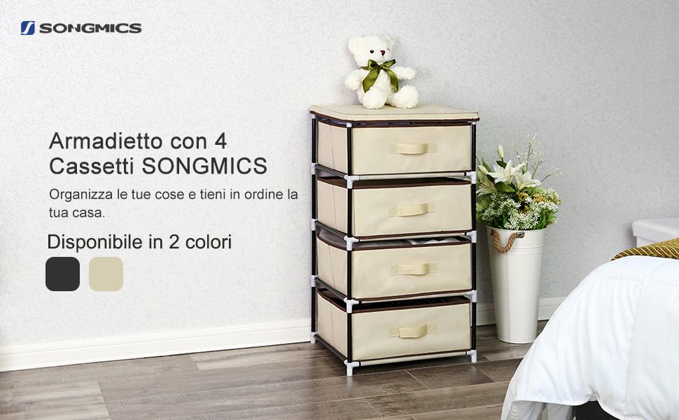 Songmics mobiletto cassettiera armadietto in tessuto con 4 cesti
