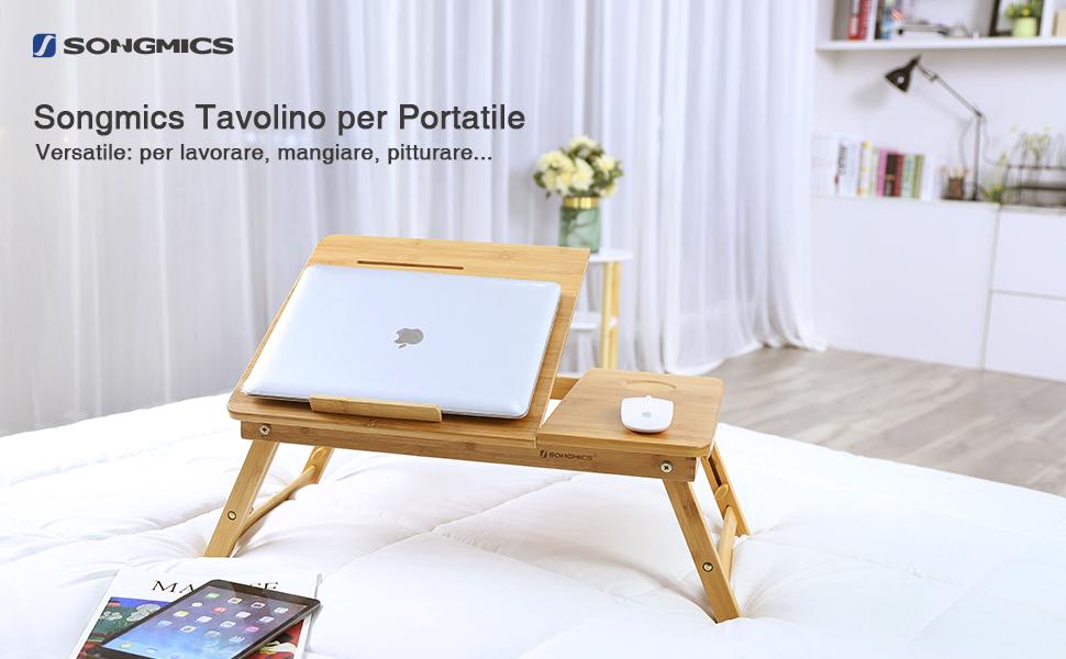 Songmics tavolino da letto per pc notebook pieghevole portatile con piano inclinabile bamb 55 - Tavolino da letto per pc ...