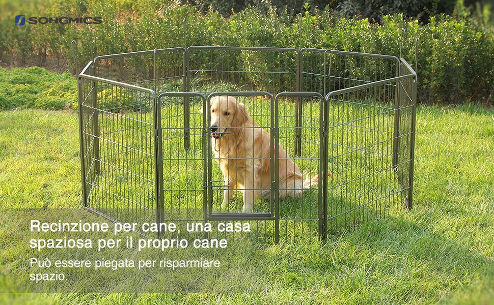 Pavimento In Gomma Per Box Cani : Songmics recinzione recinto per cani conigli animali di ferro l
