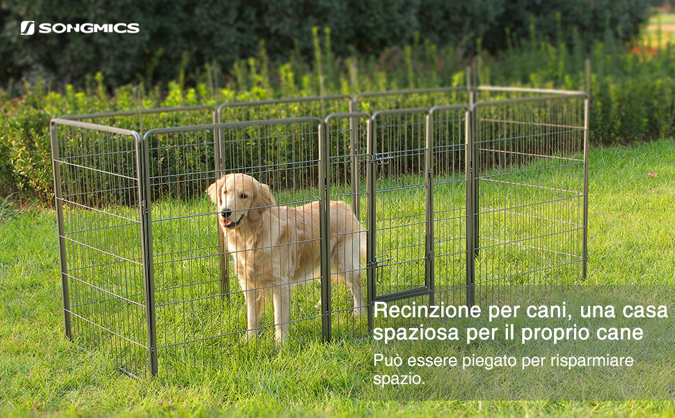 Songmics recinzione recinto per cani conigli animali di ferro 100 x 80 cm grigio ppk81g amazon - Recinto mobile per cani ...