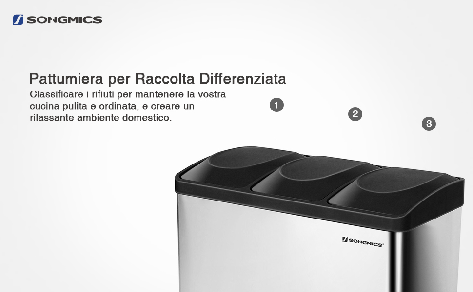 Songmics pattumiera per raccolta differenziata contenitore - Cestini raccolta differenziata casa ...