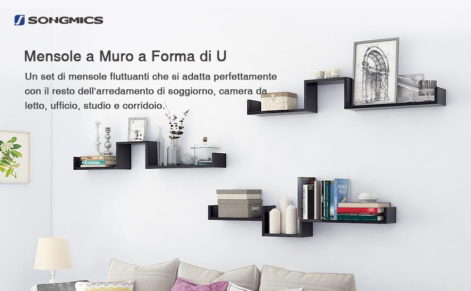 Songmics lws66b set da 3 mensole da parete scaffale for Mensola 30 cm