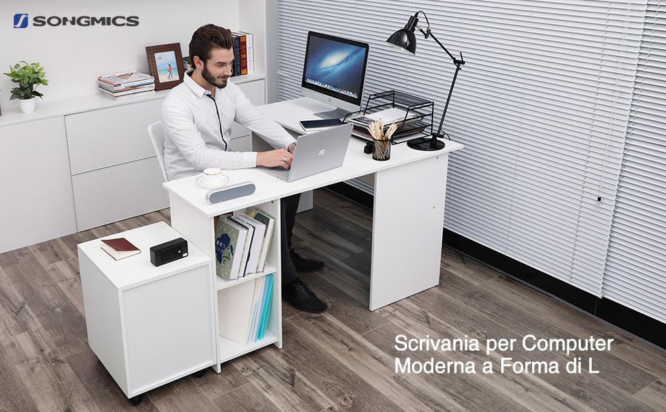 Songmics scrivania ad angolo tavolo da computer cm con