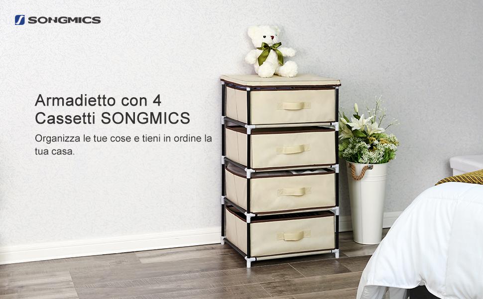 Songmics mobiletto cassettiera armadietto in tessuto con cesti