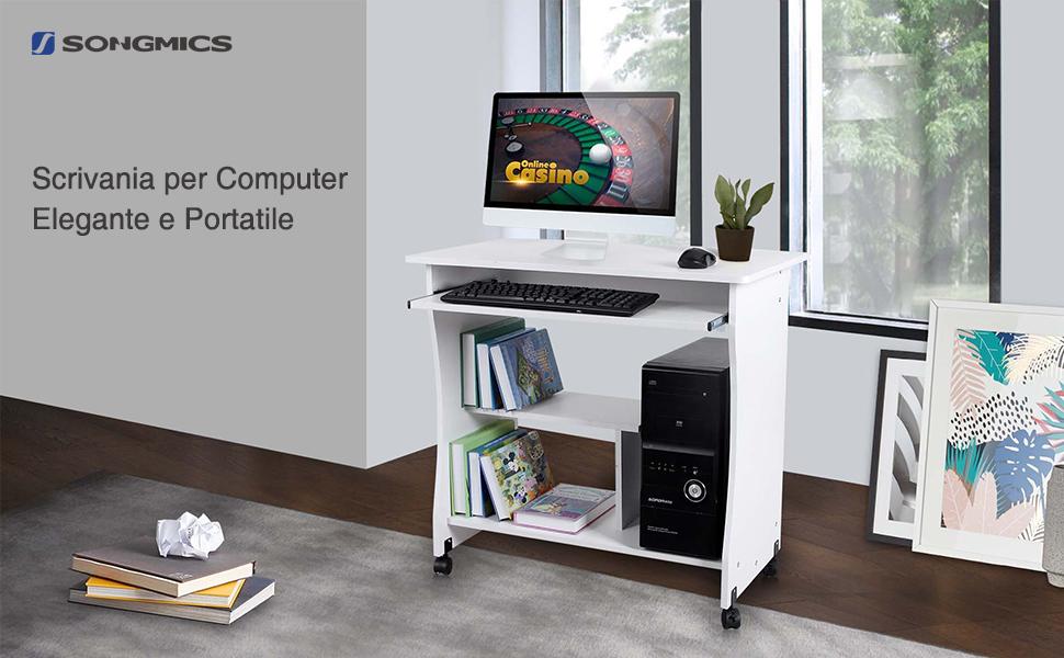 Songmics scrivania per computer mobile con ripiano e rotelle