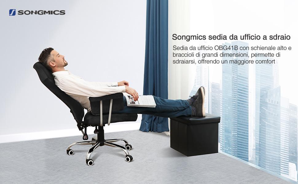 Sedie Ufficio Comode : Songmics sedia da ufficio con schienale alto e reclinabile