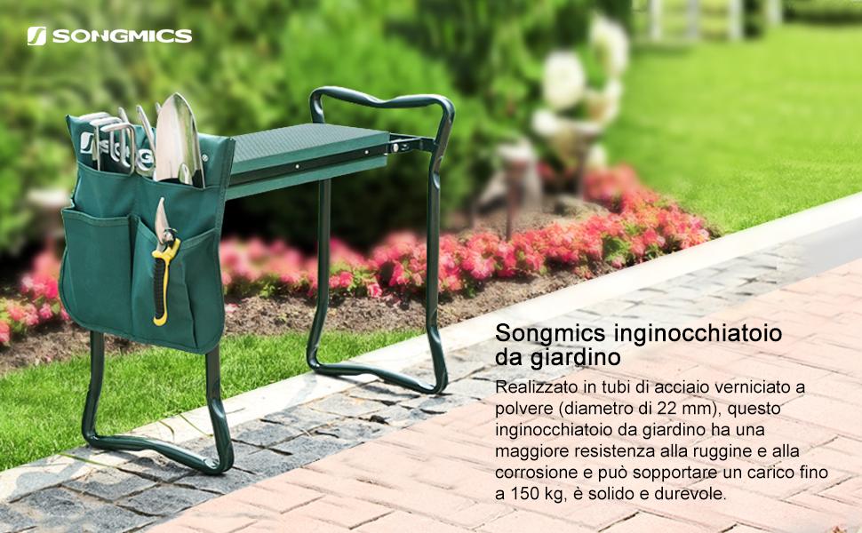 Songmics giardino inginocchiatoio pieghevole con sedile in