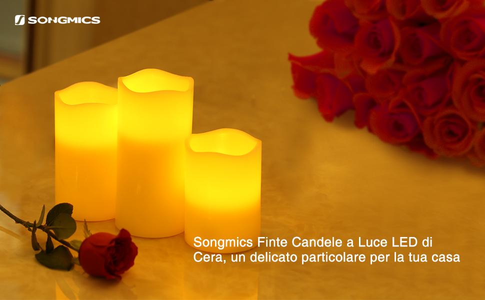 Camera Da Letto Romantica Con Candele : Songmics set di 3 candele a led con telecomando senza fiamma timer
