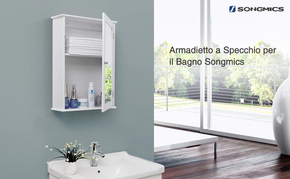 Songmics armadietto dei medicinali con specchio per bagno in legno