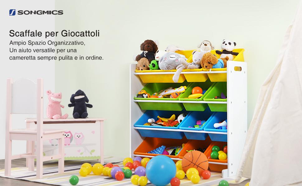 Contenitori Per Giocattoli In Plastica.Songmics Scaffale Per Giocattoli Con 12 Contenitori Di Plastica