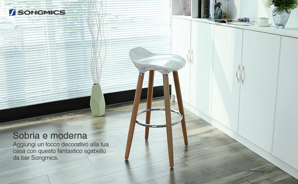 Songmics sgabello da bar con gambe in legno sedile in abs