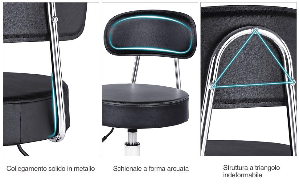 Songmics sgabello da bar industriale altezza regolabile sedia