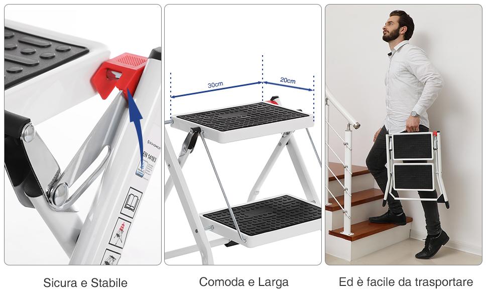 Sgabello Con Due Gradini : Scaletto in alluminio con gradini antisdrucciolo e sistema di