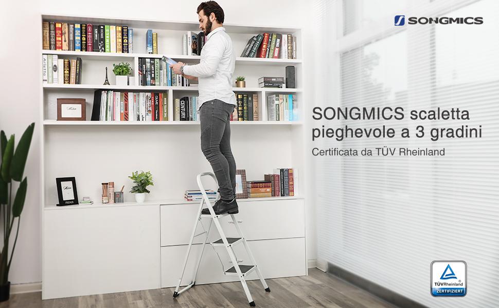 Songmics scala sgabello pieghevole gradini in acciaio con pianta