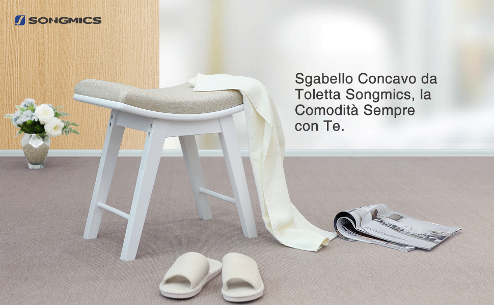 Songmics sgabello per toletta gambe in legno di gomma elegante panca